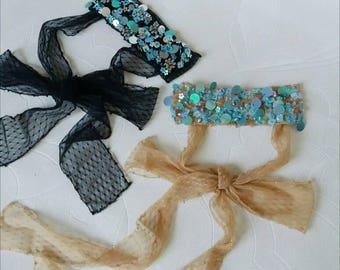 Vintage styled sparkling ribbons chocker,dazzling bohemian hand embroidered bow,vintage,boho, charming, bohochic, gypsy