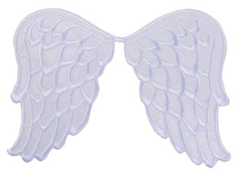 Especially Baby White Angel Wings Embroidered Iron On Applique