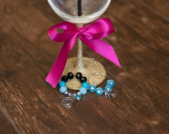 Jeweled Beaded Wine Charm Set x2