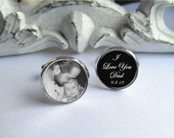 Father Of The Bride Cufflinks, Personalized Photo Cufflinks, Wedding Cufflinks