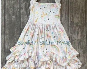 SALE Unicorn Dress, Ruffled, Sun Dress, Unicorns and Rainbows, Ruffled Hem, Lace Trim, Toddlers, Girls, Personalized