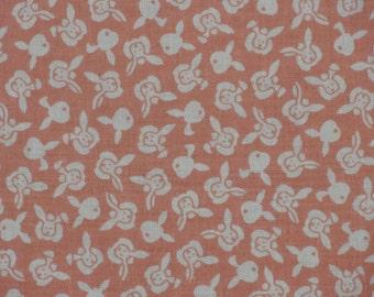 Tenugui Peach Bunnies Fabric Japanese Cotton Gauze w/Free Insured Shipping
