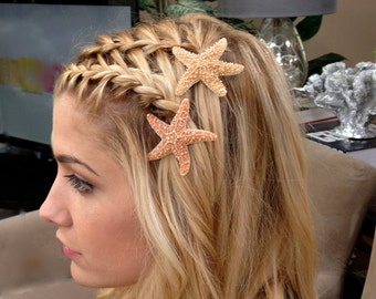 "Starfish Hair Pins, Beach Hair Accessories, Beach Wedding, Mermaid, Halloween - Set of 2 - Choose either  2"" or 3"" or one of each"
