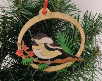 Black-capped chickadee fretwork ornament