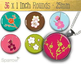 Gorgeous Japanese Blossoms - (1x1) One Inch (25mm) Round Pendant Images -Printable Digital Collage Sheet -Buy 2 Get 1 Free -Instant Download