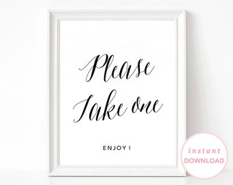 Please Take One, Printable Wedding Signs, Printable Wedding Poster, Wedding Sign, Wedding Favors Poster, Take One Sign, Wedding Favors Sign