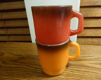 Vintage PAIR of Anchor Hocking FIRE KING Stacking Mugs Red and Orange Circa 1960s