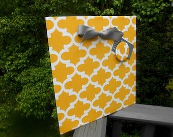New Home Gift, Magnetic Board, Quartrefoil Yellow,  Magnet Board, Message Board, Memo Board, Home Organizer, Bulletin Board, Wall Decor