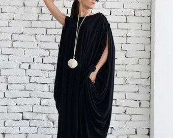 SALE Black Kaftan / Black Maxi Dress / Extravagant Black Tunic / Plus Size / Black Long Dress / Sleeveless Black Dress