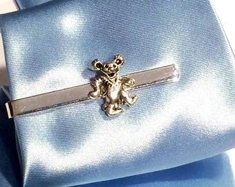 Men's Silver Dancing Bear Tie Clip- Handcrafted Grateful Dead Teddy Music Accessory Guys Hippie Festival Gift