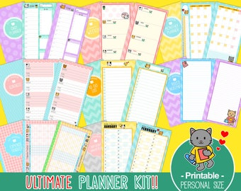 PRINTABLE Personal Size Ultimate Planner Kit Cute Kitty Day Week Month Birthday Calendar Notepaper Todo Contacts Expense Instant Download