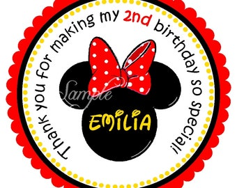 Minnie Mouse Insiped Stickers, Minnie Mouse Birthday Party, Minnie Mouse Stickers or Gift Tags, Personalized Labels - set of 12