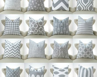 Gray Pillow Cover, Mix and Match Patterns -MANY SIZES- Euro Sham, Decorative Throw Pillow, Gray prints on white twill by Premier Prints