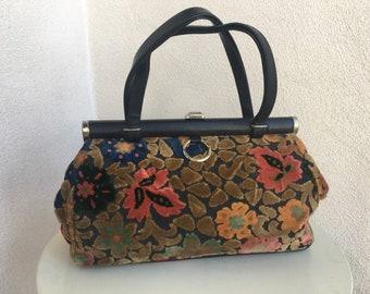 Vintage Mid Century large top handle handbag carpet tapestry fabric by JR Julis Resnick