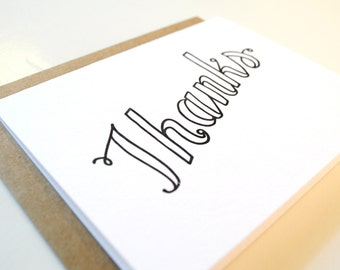 Thank You Outline Script Letterpress Card
