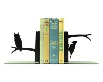 Owl & Woodpecker Bookends