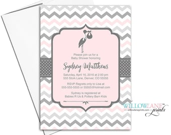 gray and pink baby girls shower invites | printable baby shower invitations | stork baby shower invitations digital - WLP00857