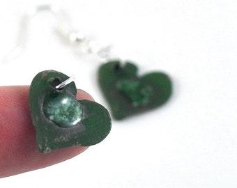 Ceramic Dangle Earrings Delicate Love Heart Jewelry Green or Red Pierced or Unpierced Screw Back