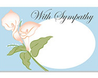 With Sympathy Enclosure Cards, Blank Lilies With Sympathy Note Card, Note Card, Sympathy Gift Note Card, Sorry For Your Loss, Lily Note Card