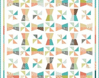 Promenade quilt pattern by Freckled Whimsy - pinwheel quilt, bowtie quilt, sewing pattern, modern quilt, fat eighths quilt pattern