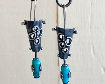 Sterling Silver and Gem Silica Pierced Cone Earrings