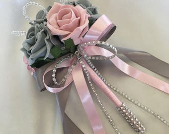 Artificial Wedding Flowers, Brides, Bridesmaids, Flower girls Posy Bouquet with grey, Grey and Pink Roses with crystal loops