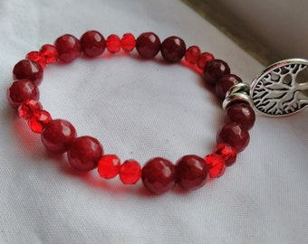 Red Jade and red crystal bracelet with tree of life charm