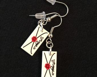 Love letter earrings built of LEGO® bricks