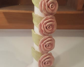 Vintage Ivory Candle Holder by Brenda Holzke for Magenta, 4 Pink Roses Stacked, Ceramic Pillar Tapered Candle Holder, Wedding Gift, For Her