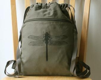 Dragonfly Canvas Backpack Bag for Women Cinch Sack