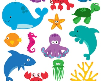 Sea Animal Clipart, Sea Animal Clip Art, Sea Creatures, Fish Clipart, Fish Clip Art - Commercial Use
