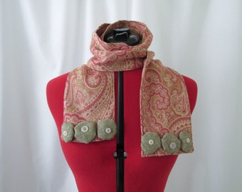 Pink Paisley Scarf- Pink Scarf- Rosette Scarf- Paisley Scarf- Embellished Scarf- One of a Kind Scarf- Handmade Scarf