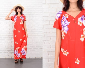 Vintage 80s Red Hawaiian Print Dress Tropical A Line Bold Floral Medium 10553