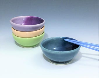 Blue Sauce Bowl, One Small Ceramic Bowl, Porcelain Soy Sauce Dish, Blue Ombré Sauce Bowl, Ceramic Ring Holder, Wheel Thrown Pottery Bowl