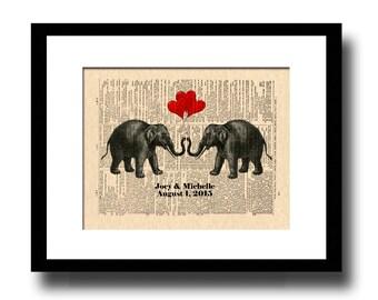 Custom Anniversary Gift, 1st Anniversary Gift, Paper Anniversary, 14th Anniversary Gift, Ivory Anniversary, Names and Date, Elephants