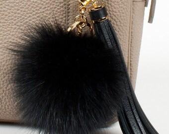 Black Fox fur pompom keychain with black leather tassel, handbag charm, bag charm, tassel keychain, pompom keychain - Black