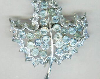 Pale Blue Rhinestones In Silver Tone Leaf Shaped Pin