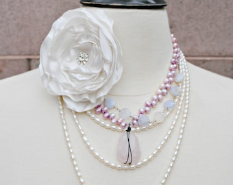 Pink Necklace, Faceted Rose Quartz Necklace, Pendant Necklace, Violet Freshwater Pearls, Wire Wrapped, Vintage Inspired, Spring Wedding