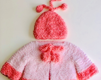 Handmade sweater for baby pink and white and hat