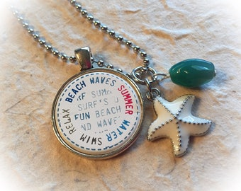Beach jewelry, summer jewelry, summer, beach, starfish jewelry, beach necklace, summer necklace, ocean