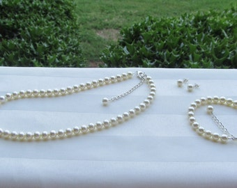 Ivory Pearls Bridal Flower Girl Jewelry Prom Sorority Formal Jewelry Swarovski Cream Pearls Set