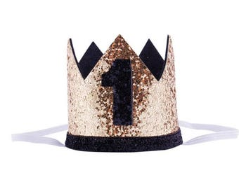 Baby for birthday crown, birthday party crown, gold and black crown