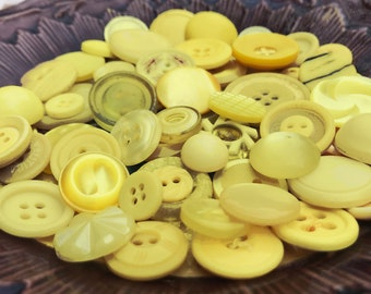 Yellow Collectible Button Lot - Yellow Vintage Button Collection - Vintage Plastic Bakelite Lucite Casein Buttons - B175- 60 Buttons