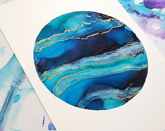 Full Moon Blue & Gold 5x7 #1 , Abstract Art, Home Decor, Bright Decor, Alcohol Ink Art, Home Decor, Modern Art,  Office Decor, Abstract Art