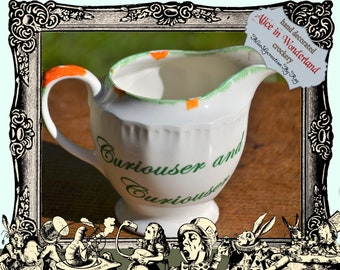 Swinntertons Tea Party / Alice in Wonderland / Curiouser and Curiouser on the side of the jug / we're all mad here / Handmade