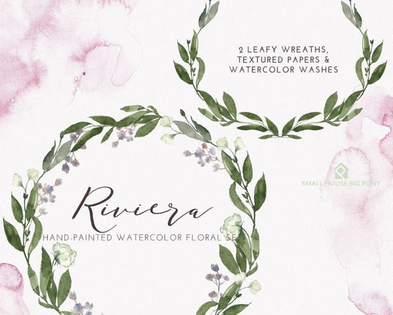 Digital Green Vines Clip Art. Green Laurel Wreath and Leaves Clipart. Vine Frames and Borders for Wedding, Cards - Riviera Wreaths