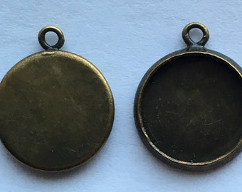 Antique Bronze Round Cabochon Setting  Pendant Tray 14mm  Bezel Tray  DIY Jewelry Making Findings 20Pcs