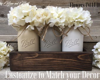 Table Decor, New Home Gift, Wedding Gift, Mason Jar Centerpiece, Planter Box with 3 Quart Mason Jars, Flower Arrangement,Rustic Home Decor