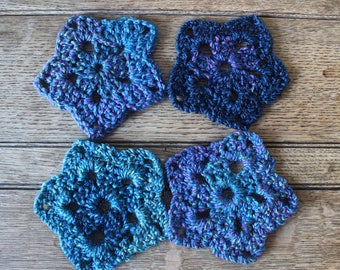 Set Of Four Star Shaped Handmade Coasters | Crocheted | Crochet Gift | Home Decor | Stocking Filler | Purple | For Her | New Home