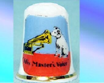 The Master's Voice on bone china Thimble